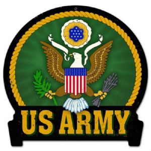 US Army die cut metal sign (pst shaped)